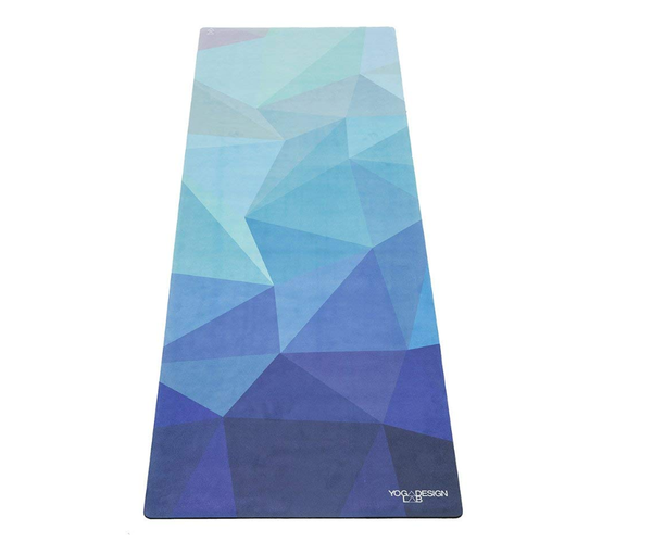 YOGA DESIGN LAB | Commuter Yoga Mat | 2-in-1 Mat+Towel | Lightweight, Foldable, Eco Luxury | Ideal Hot Yoga, Bikram, Pilates, Barre, Sweat | 1.5mm Thick | Includes Carrying Strap!