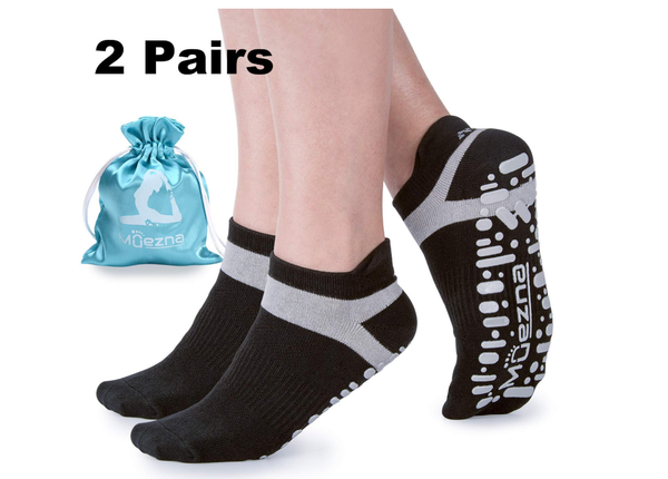 Muezna Non Slip Yoga Socks Women, Anti-Skid Pilates, Barre, Bikram Fitness Socks Grips, Size 5-10