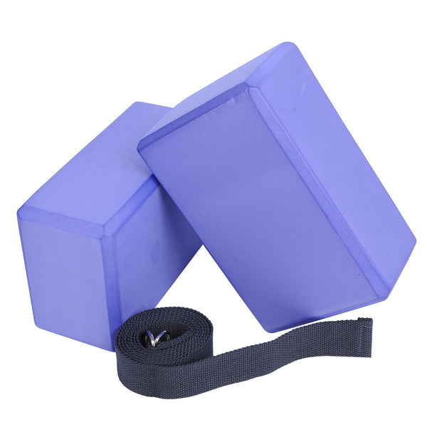 "Veda Yoga Foam Blocks (Set of 2) plus strap with Metal D-Ring - Standard Studio Size 9"" x 6"" x 4"""