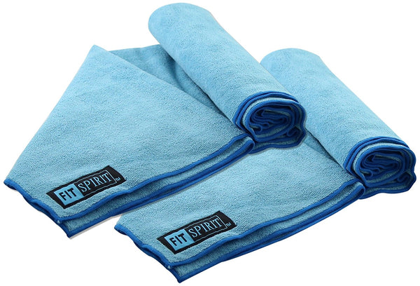 Fit Spirit Set of 2 Super Absorbent Microfiber Non Slip Skidless Sport Towels