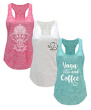 Tough Cookie's Women's Burnout Elephant Lotus Small Yoga Coffee Tank Top 3 Pack
