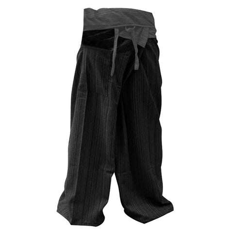 2 TONE Thai Fisherman Pants Yoga Trousers FREE SIZE Plus Size Cotton Gray and Charcoal by Mr.Bangkok