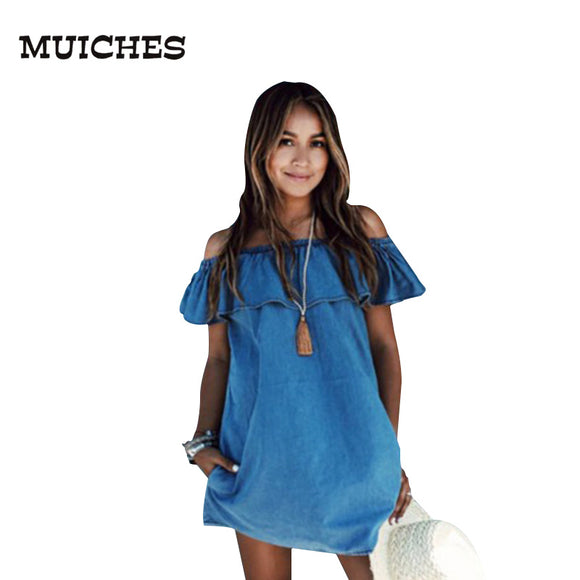 49a8587b190 MUICHES2017 vintage Women Frilly Elegant Jeans Dress off the shoulder  Casual Blue short Women s Summer Beach
