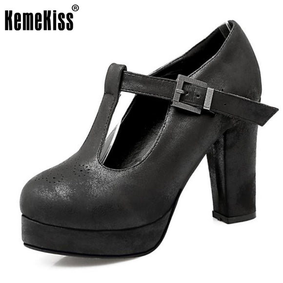 KemeKiss Size 34-43 Female Thick High Heeled Shoes Women Ankle Cross Strap  Vintage Heels 5285522833d9