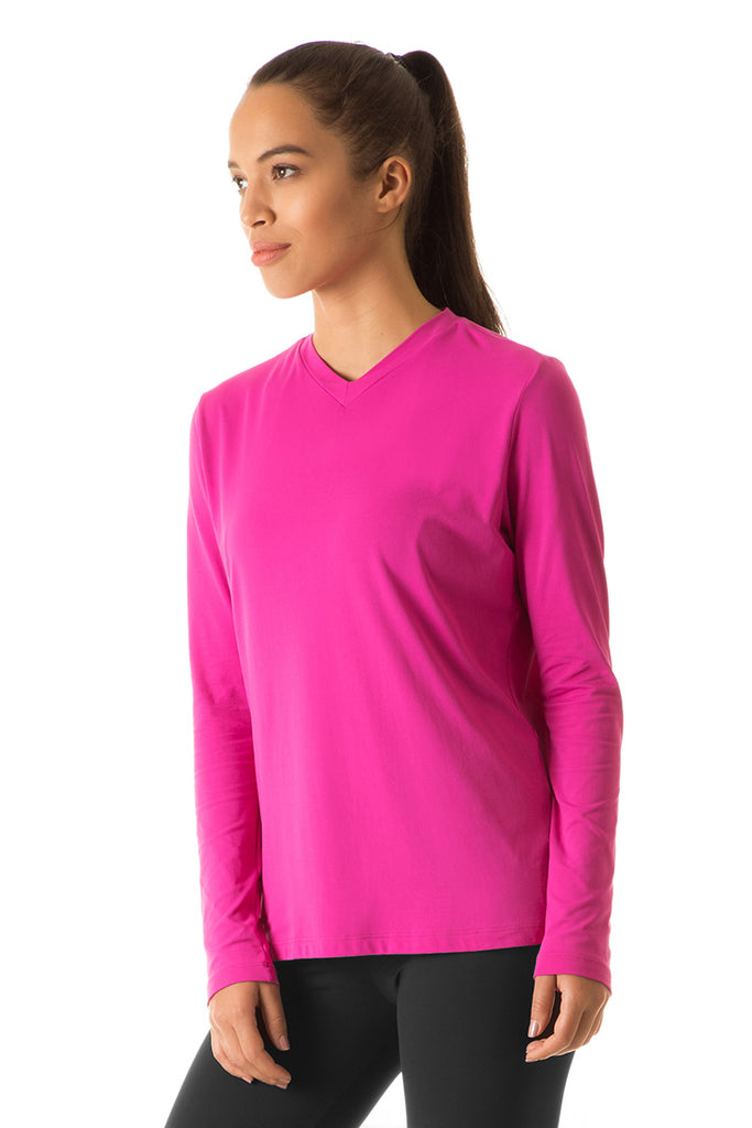 Women's UPF50+ SportFit V-neck top (Long Sleeve)