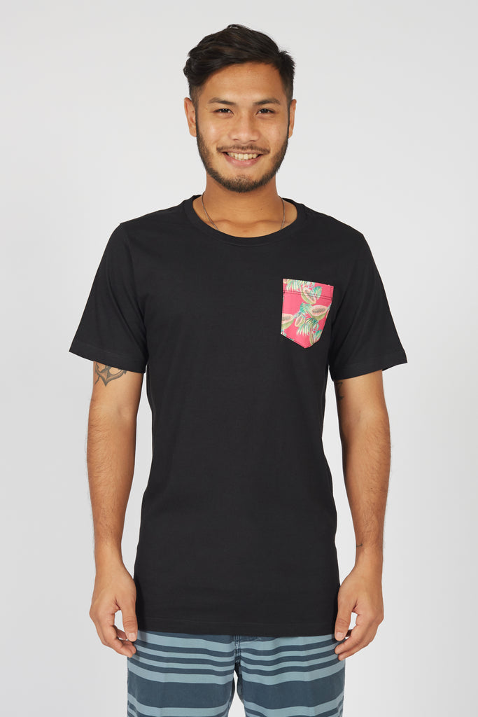 Beach T-shirt with printed Pink Papaya pocket