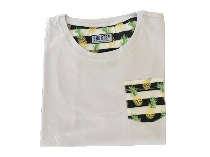 Beach T-shirt with printed Pineapple pocket