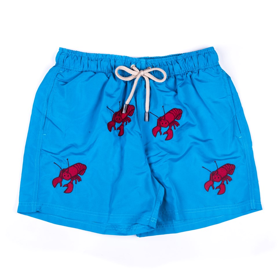 Men's regular embroidered shorts with bag  - Lobster