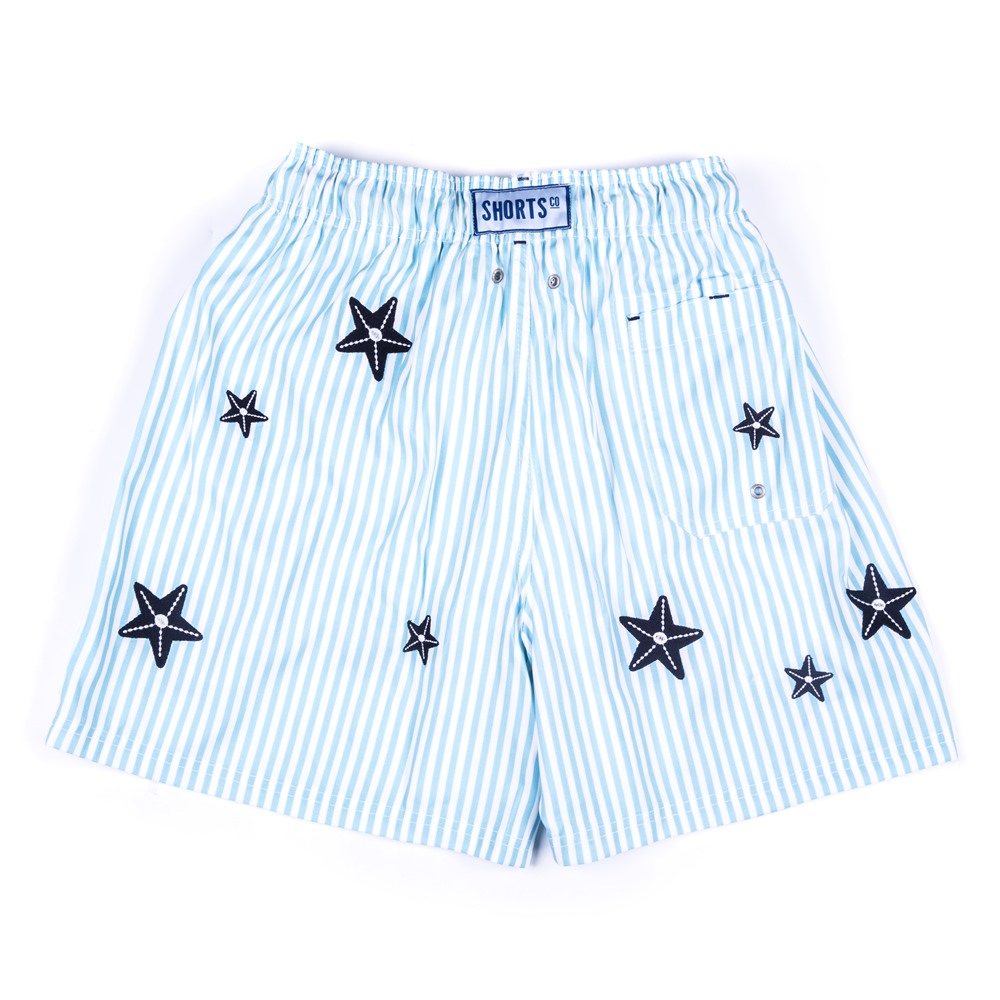 Men's regular embroidered shorts with bag  - Stars