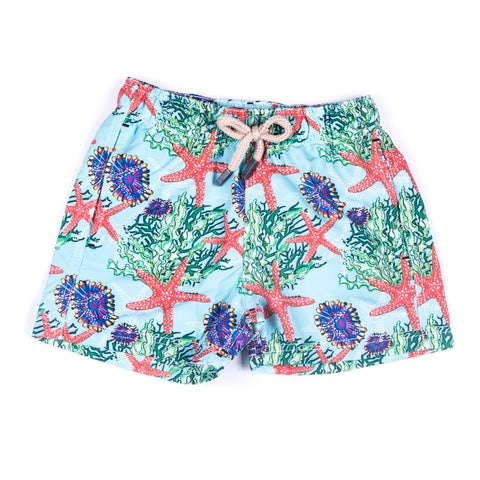 Men's Printed Pink Papaya Shorts With Bag
