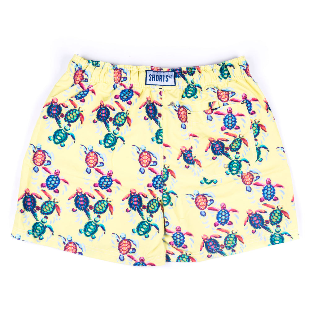 Men's Printed Yellow Turtle Shorts with bag