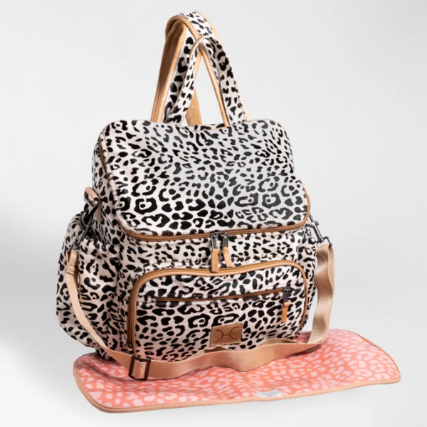 Animal Printed Leather nappy backpack and changing mat