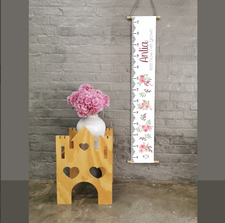 Peonies Personalised Growth Chart