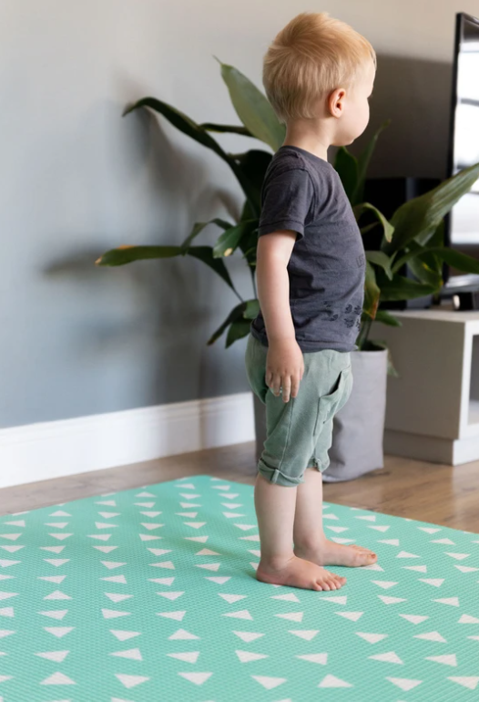 Rectangular Green Triangle/Charcoal Play Mat