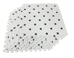 Black Nordic cross on white (6 tiles)