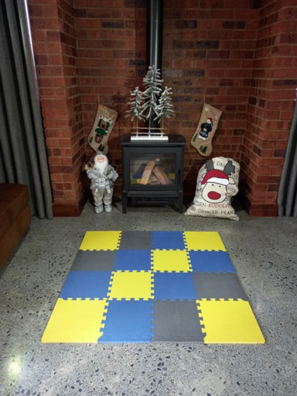 Powder Blue, Grey and Mustard Colours Collection Play Mat