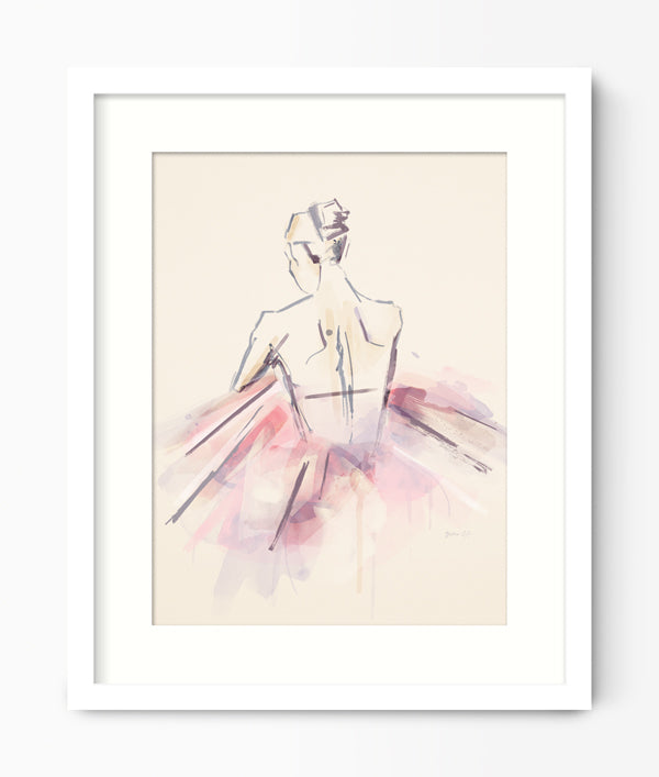 Pink Watercolour Ballerina Print