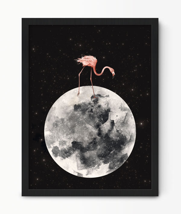 Flamingo On The Moon Print