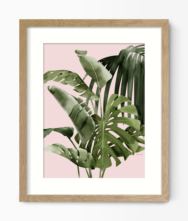 Pink and green Palm leaf Print