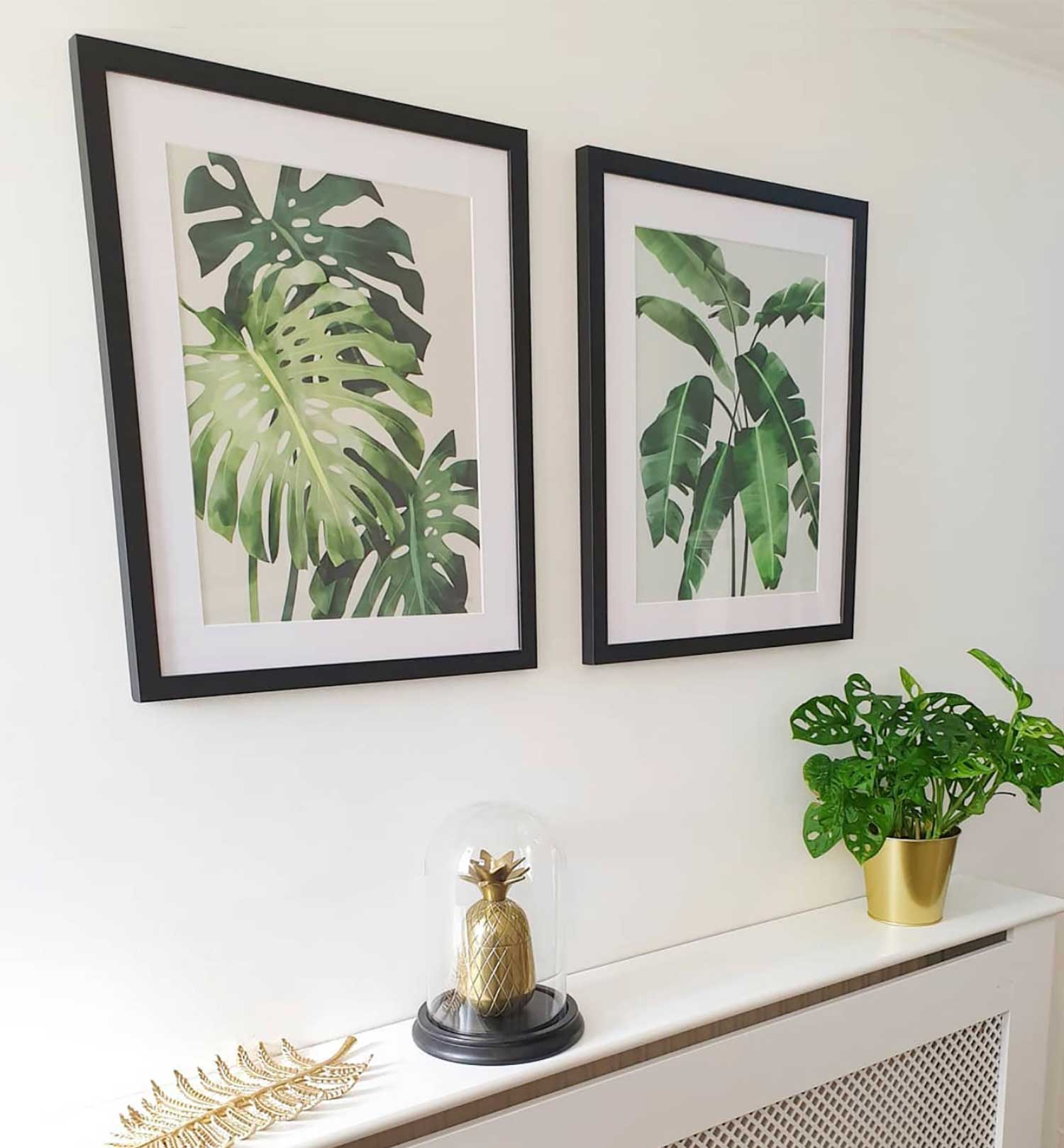 Green Lili Botanical Monstera and Banana Leaves Framed Prints