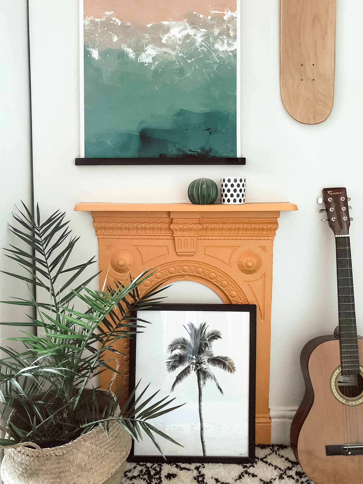 Green Lili Beach and Tropical Prints Yellow Fireplace