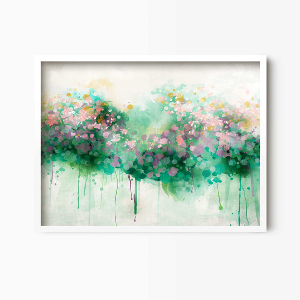 Spring Bloom - Abstract Floral Print - Green Lili