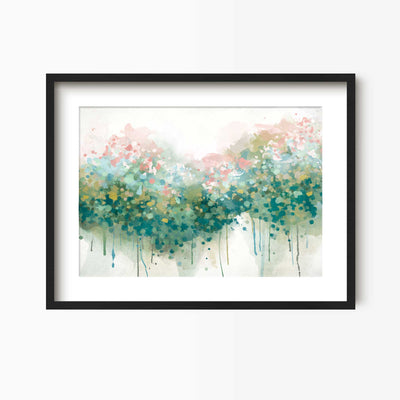 The Real Teal - Abstract Floral Art Print - Green Lili