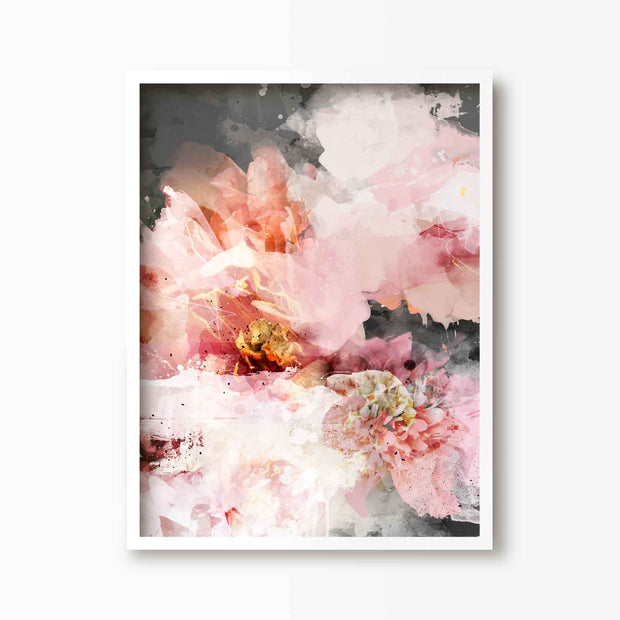 Pink Blooms Abstract Floral Art - Green Lili