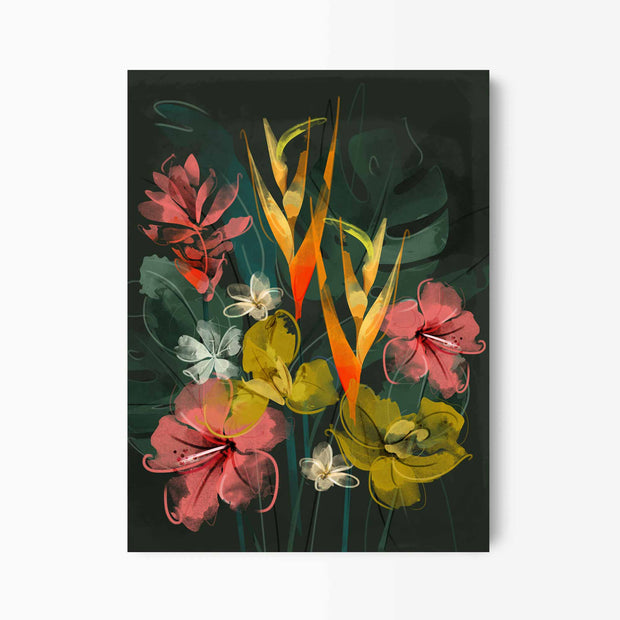 Dark Tropical Flower Art - Green Lili