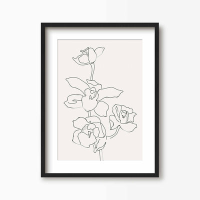 Orchid Flower Line Art 2 - Green Lili