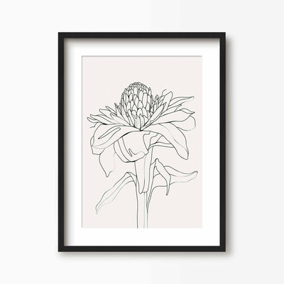 Tropical Flower Line Art - Green Lili