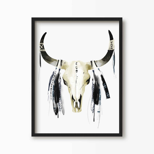 Native American Cow Skull Print - Green Lili
