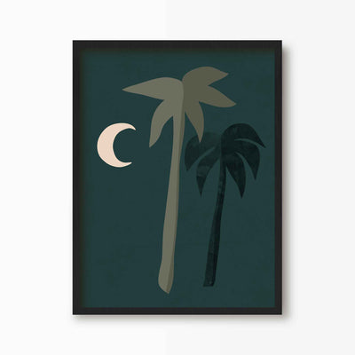 Boho Moonlight Palm Tree Print - Green Lili
