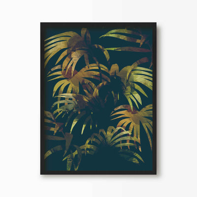 Dark Tropical Jungle Print - Green Lili