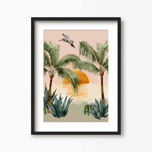 Tropical Sunset Print - Green Lili