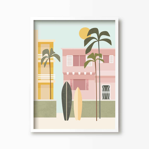 California Boardwalk Print - Green Lili