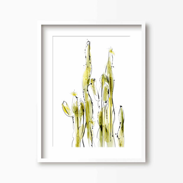 Zingy Green Watercolour Cactus Print - Green Lili