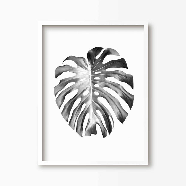 Black & White Monstera Leaf Print - Green Lili