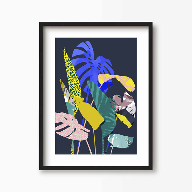 Dark Tropical Palm Leaf Print - Green Lili