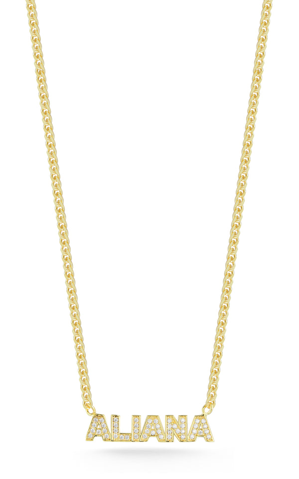 Pavé Nameplate Curb Necklace - Sphera Milano