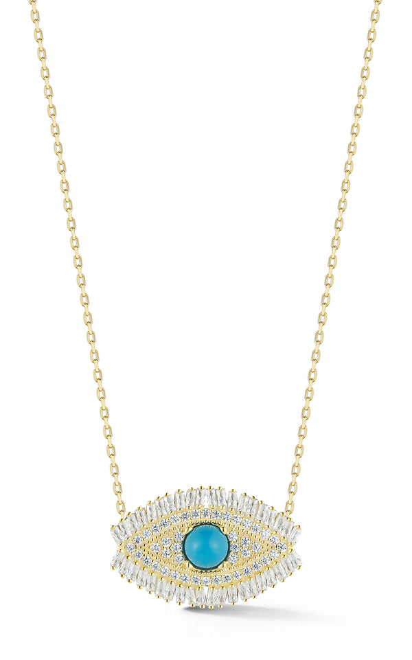 Baguette Evil Eye Necklace - Sphera Milano