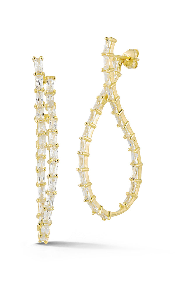 Baguette Twisted Hoop Earring - Sphera Milano