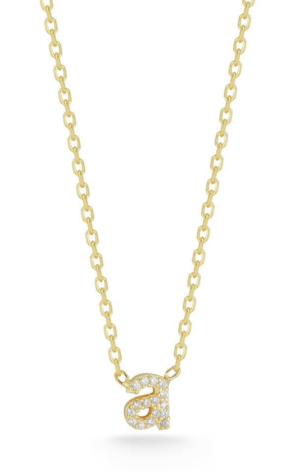 Tiny Lowercase Pavé Initial Necklace - Sphera Milano