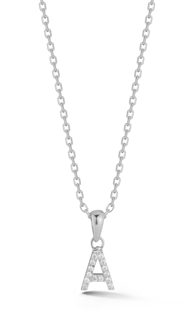 Tiny Pavé Uppercase Initial Necklace - Sphera Milano
