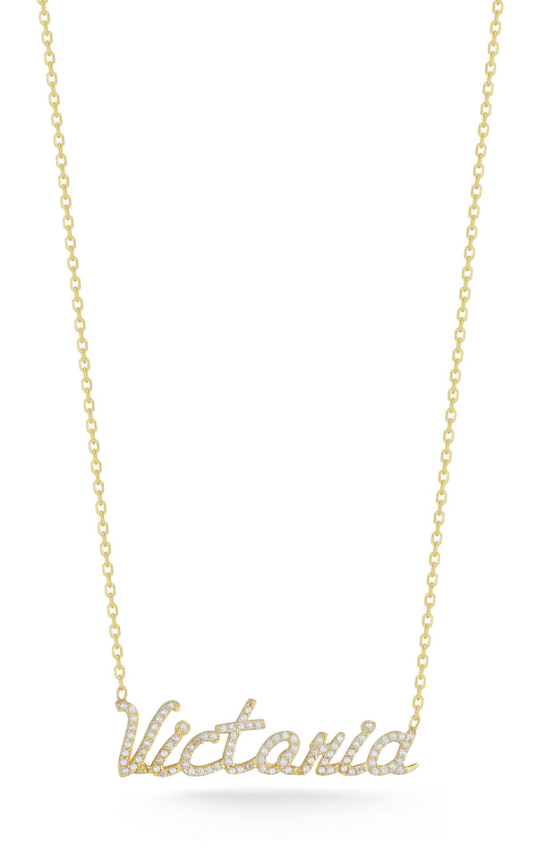 Pavé Script Name Necklace - Sphera Milano