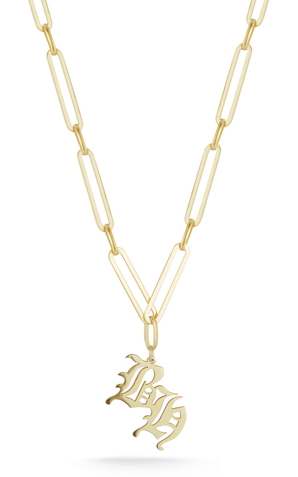 Old English Double Initial Link Necklace - Sphera Milano
