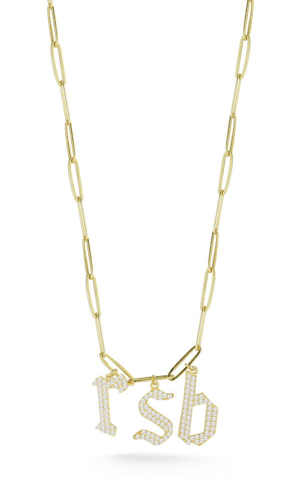 Gothic Pavé Initial Link Necklace - Sphera Milano