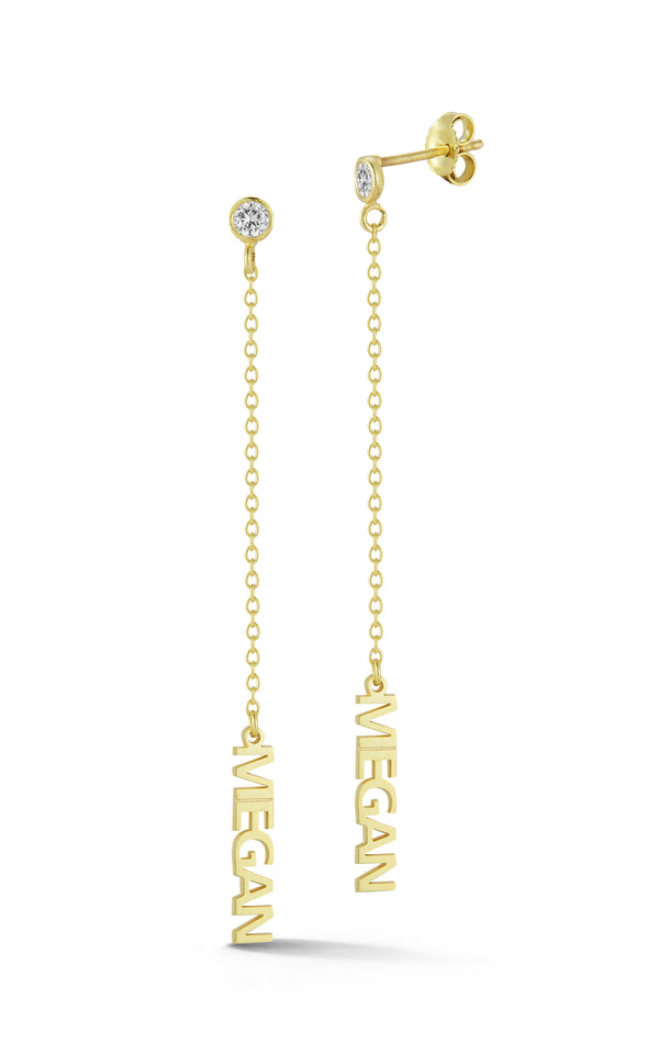 Block Name Drop Stud Earring - Sphera Milano