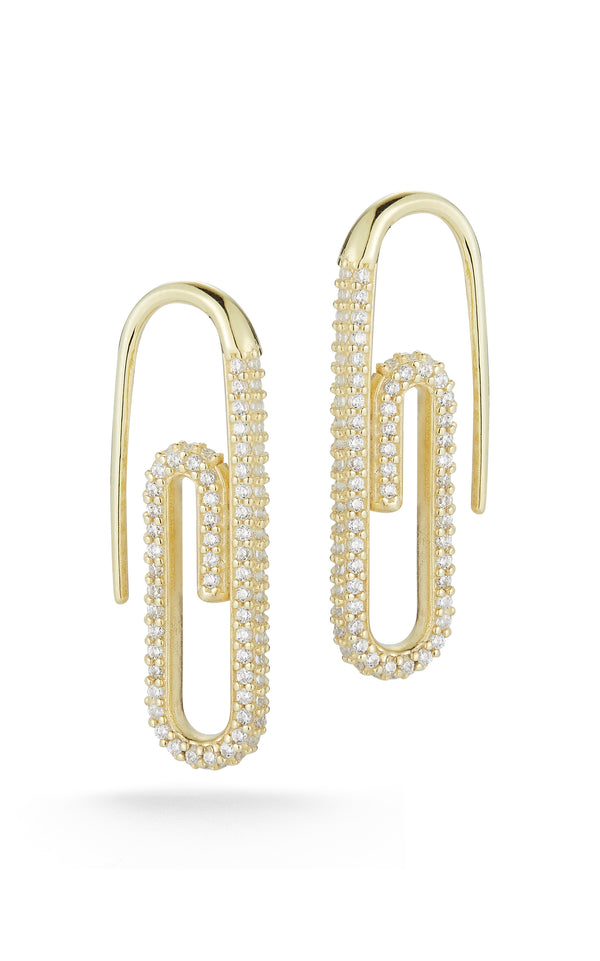 Pavé Paperclip Threader Earring - Sphera Milano