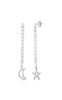 Moon And Star Cuban Chain Drop Stud Earring - Sphera Milano